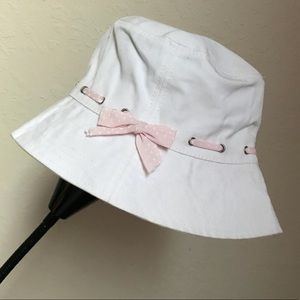 White with pink trim hat